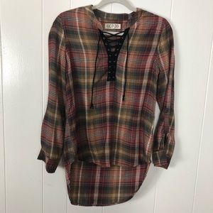 Pink rose high low flannel size small